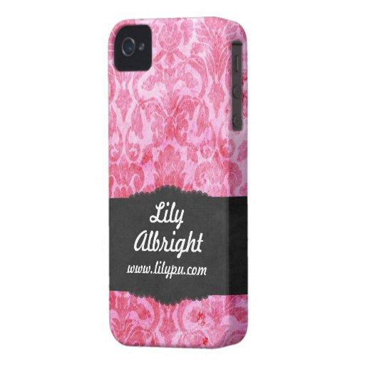 Gulligt rosa vintageblackberry boldfodral iPhone 4 hud