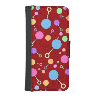 Gulligt rött bebispladdermönster plånboksskydd för iPhone 5