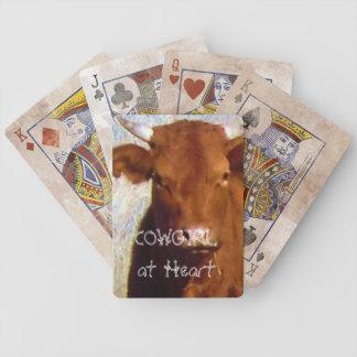 Gulligt rött konötkreatur med westerna Horns - Cow Spelkort