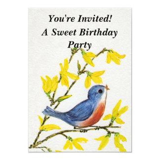Gulligt sjungande blåttfågelträd 12,7 x 17,8 cm inbjudningskort
