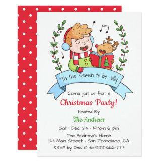 Gulligt sjungande pojke- och renjulparty 11,4 x 15,9 cm inbjudningskort