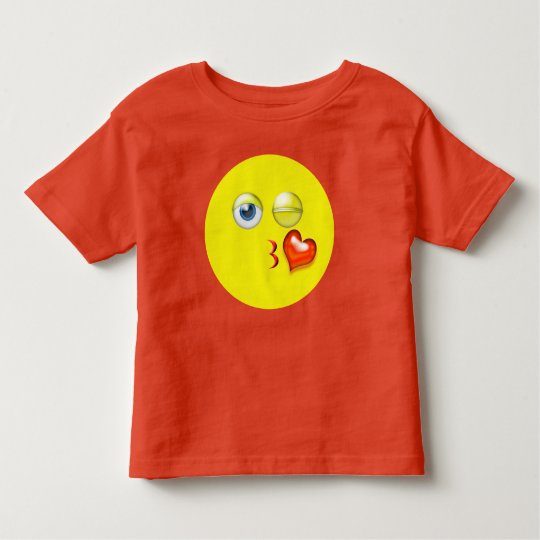 Gulligt slag en kyss röda gula Emoji T Shirts