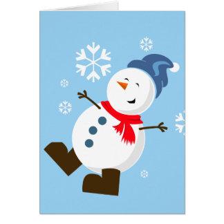 Gulligt snögubbekort hälsningskort