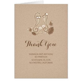gulligt strandbröllop tackar dig kort - seahorses