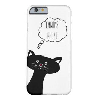 Gulligt svart fodral för kattpersonligtelefon barely there iPhone 6 fodral