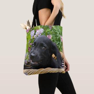 Gulligt svart foto för husdjur för valp för hund tygkasse