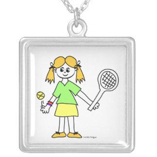Gulligt tennisflickahalsband silverpläterat halsband