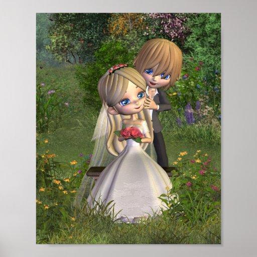 Gulligt Toon bröllop kopplar ihop i en trädgård Affischer