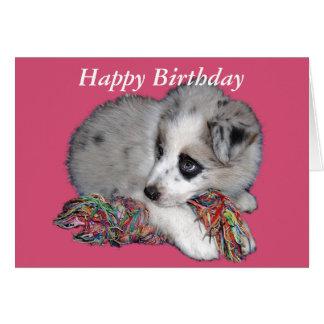 gulligt valpkort för grattis på födelsedagen hälsningskort