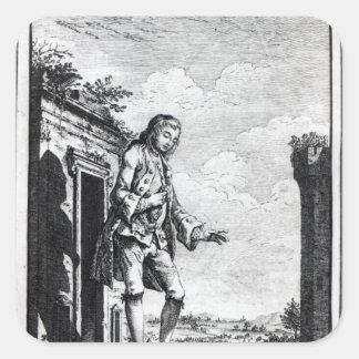Gulliver amongst lilliputiansna fyrkantigt klistermärke