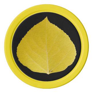 Gult asp- löv #5 poker marker