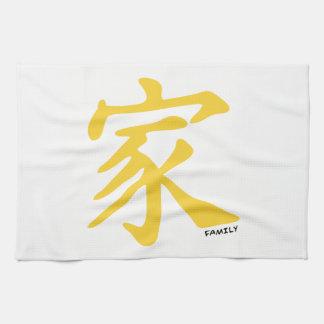 Gult bärnstensfärgat kinesiskt familjsymbol kökshandduk