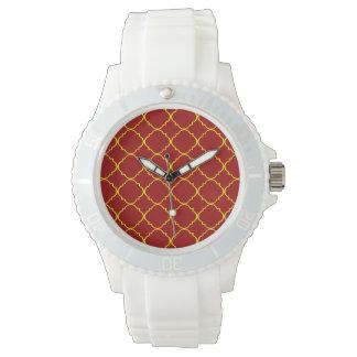 Gult & brända röda Quatrefoil Armbandsur