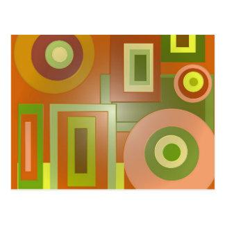 gult cirklar och kvadrerar vykort
