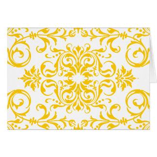 Gult damastast mönster med anpassadebakgrund hälsningskort