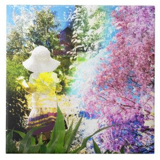 Gult för blått för blomma för rosor för liten stor kakelplatta