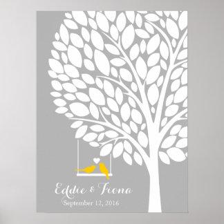 gult för fågel för träd för bok för poster