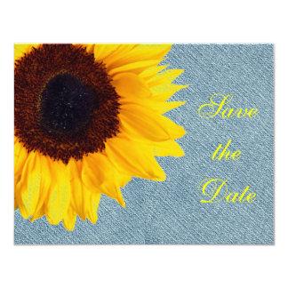 Gult för land för solrosbröllop lantlig blom- 10,8 x 14 cm inbjudningskort