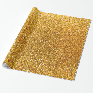 Gult glitter presentpapper