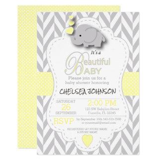 Gult grå elefantbaby shower för vit 12,7 x 17,8 cm inbjudningskort