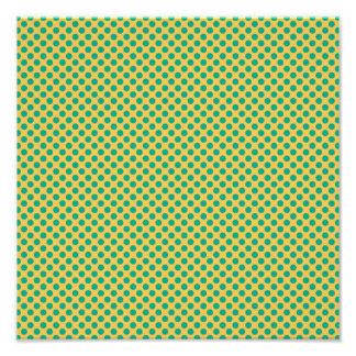 Gult guld med smaragdgröntpolka dots fototryck