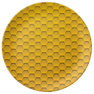 Gult honungskakamönster porslinstallrik