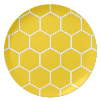 Gult honungskakamönster tallrik