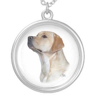 Gult huvud för Labrador Retriever Silverpläterat Halsband