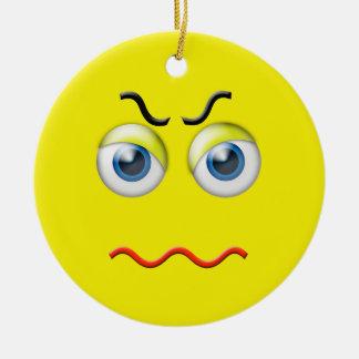 Gult ilsket Emoji anpassningsbarnamn Rund Julgransprydnad I Keramik