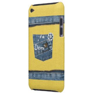 Gult iPod för fodral för blåttDenimtryck handlag iPod Case-Mate Cases