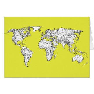 gult kartbokdiagram för kanariefågel hälsningskort
