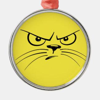 Gult kattungeansikte för arg julgransprydnad metall