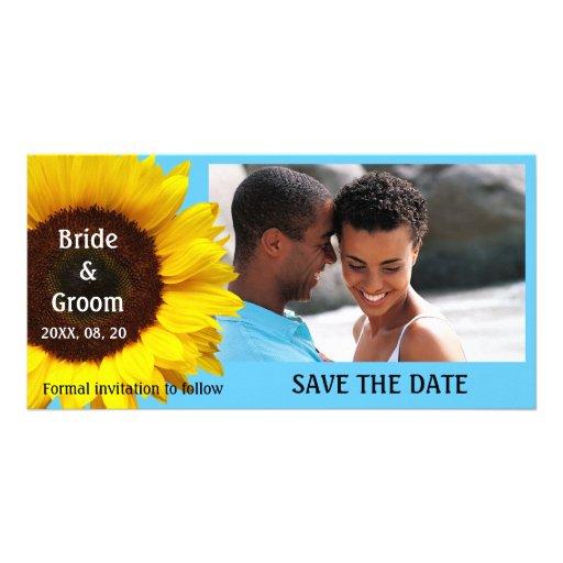 Gult kort för solrosbröllop spara datumfoto foto kort