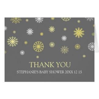 Gult kort för tack för gråttvinterbaby shower