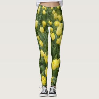 Gult lägga benen på ryggen för tulpanfält leggings