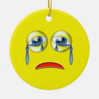 Gult ledset Emoji anpassningsbarnamn Rund Julgransprydnad I Keramik
