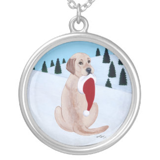 Gult måla för Labrador jul Silverpläterat Halsband
