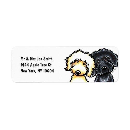Gult n svart Labradoodle Returadress Etikett