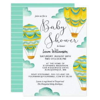 Gult och Aqualuftballongbaby shower 12,7 X 17,8 Cm Inbjudningskort