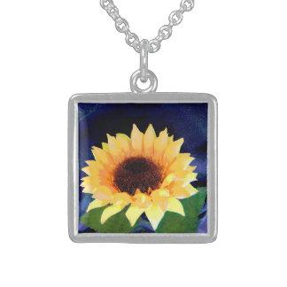 gult och blått för solrosfotohalsband sterling silver halsband