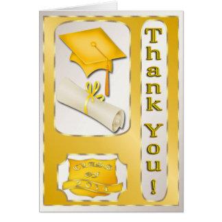 Gult och guld- studententackkort kort