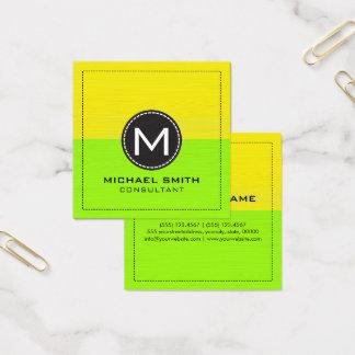 Gult och limefrukt för Monogram elegant modern Fyrkantigt Visitkort