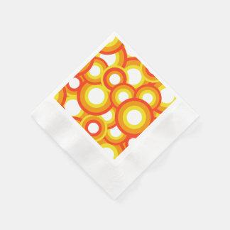 Gult och orange psychedelic cirklar pappersservett