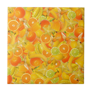 Gult och orangefrukter och grönsaker kakelplatta