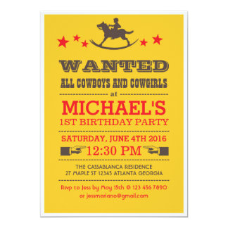 Gult önskade western Cowboyfödelsedaginbjudan 12,7 X 17,8 Cm Inbjudningskort