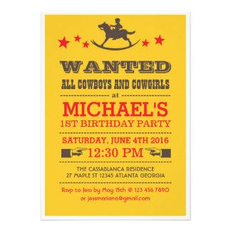 Gult önskade western Cowboyfödelsedaginbjudan