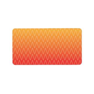 Gult orange urblektt lutningsparremönster adressetikett