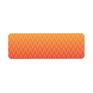 Gult orange urblektt lutningsparremönster returadress etikett