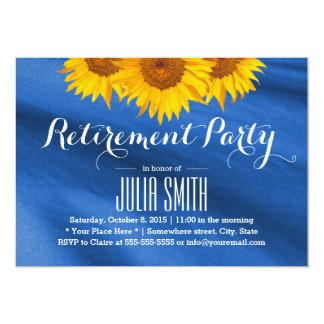 Gult party för pension för solrosblåtttyg 12,7 x 17,8 cm inbjudningskort