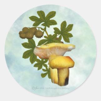 Gult plocka svamp med kärnar ur podklistermärkear runt klistermärke